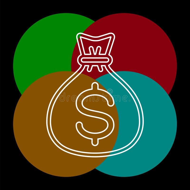 Значок сумки денег - знак доллара вектора иллюстрация вектора