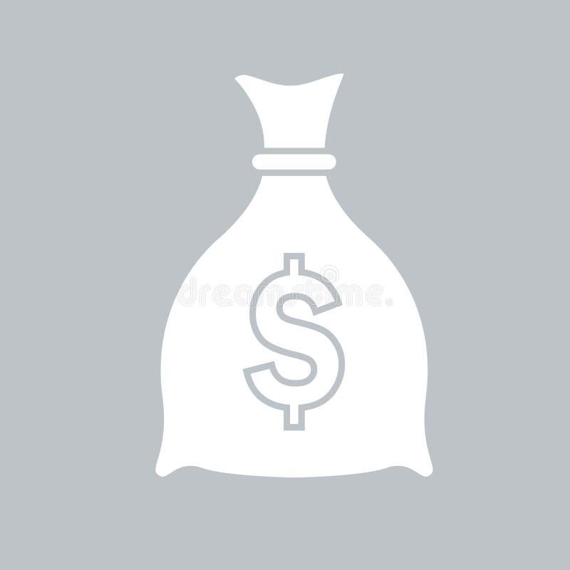 Значок сумки денег плоский на серой предпосылке, для любого случая иллюстрация штока