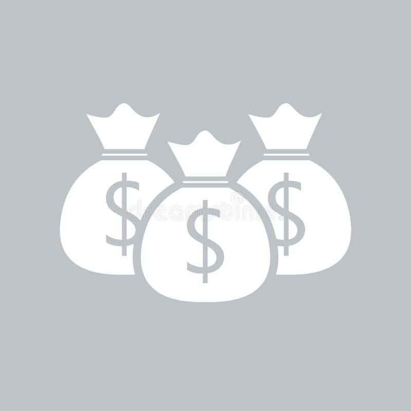Значок сумки денег плоский на серой предпосылке, для любого случая иллюстрация вектора
