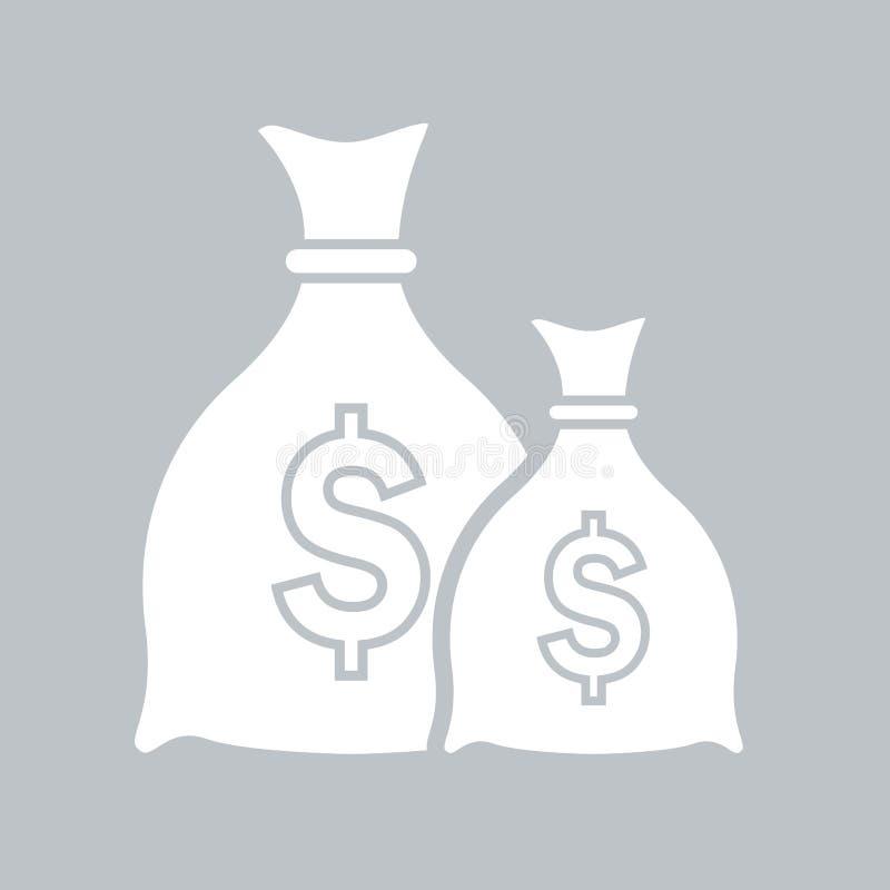Значок сумки денег плоский на серой предпосылке, для любого случая бесплатная иллюстрация