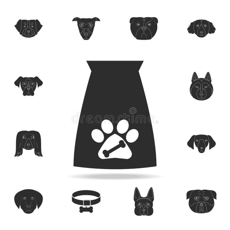 Значок сумки корма для домашних животных Детальный набор значков силуэта собаки Наградной графический дизайн Один из значков собр иллюстрация вектора