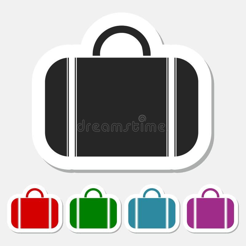 Значок сумки установленный с длинной тенью бесплатная иллюстрация