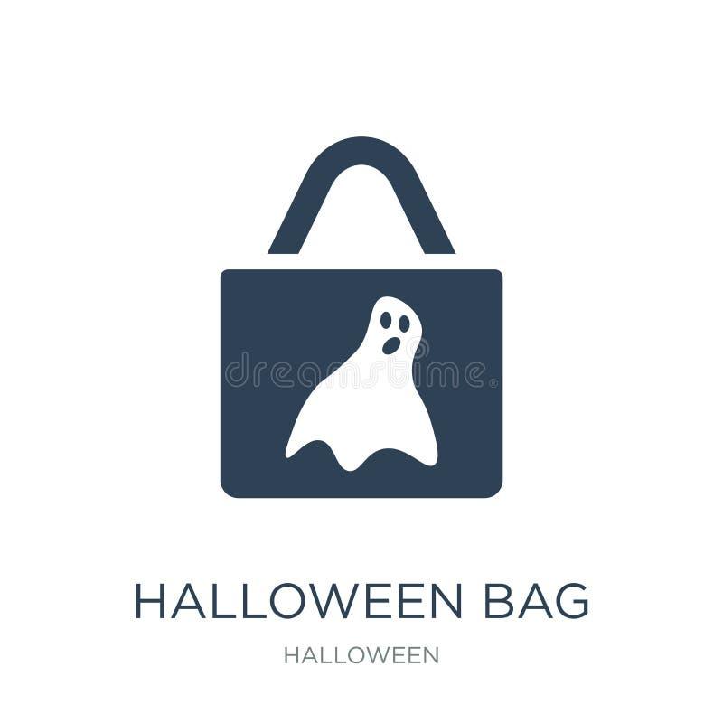 значок сумки хеллоуина в ультрамодном стиле дизайна значок сумки хеллоуина изолированный на белой предпосылке значок вектора сумк бесплатная иллюстрация