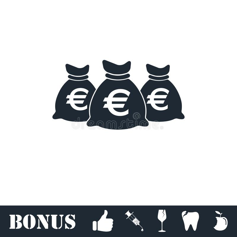 Значок сумок денег плоско иллюстрация штока