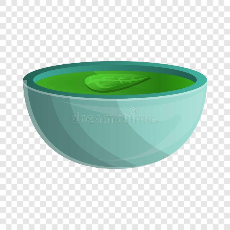 Значок супа шпината, стиль мультфильма иллюстрация вектора