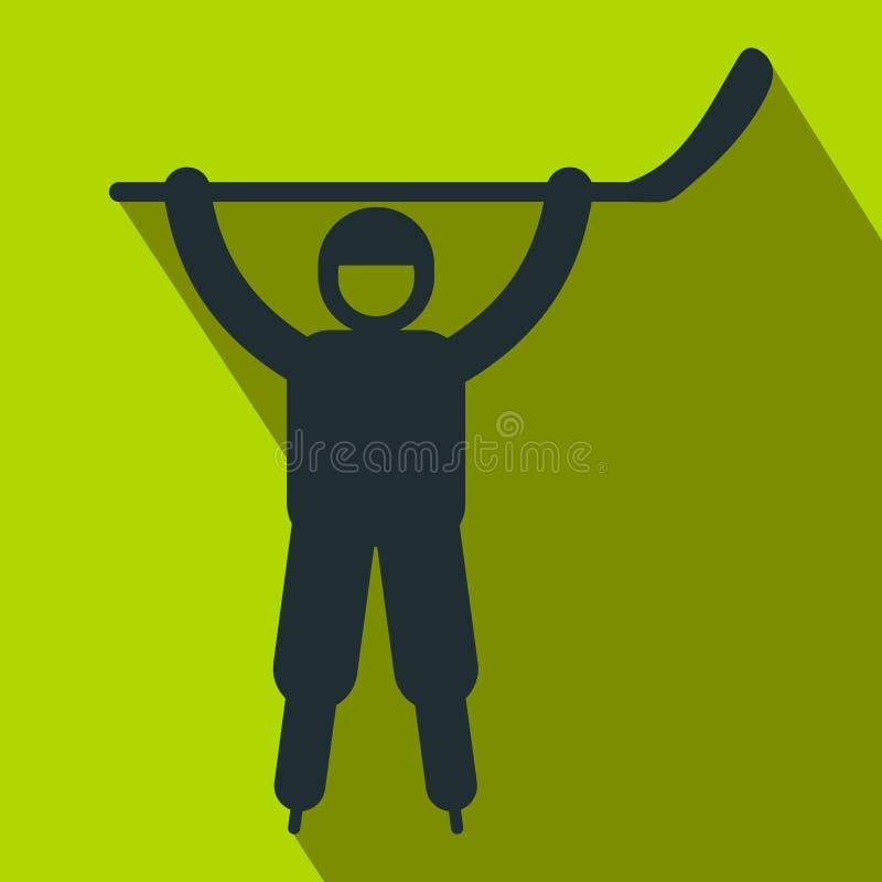Значок счастливого хоккеиста плоский иллюстрация штока