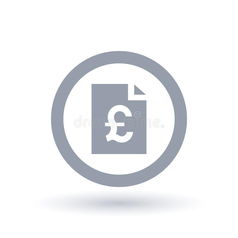 Значок счета английского фунта бумажный - символ документа денег Британии бесплатная иллюстрация