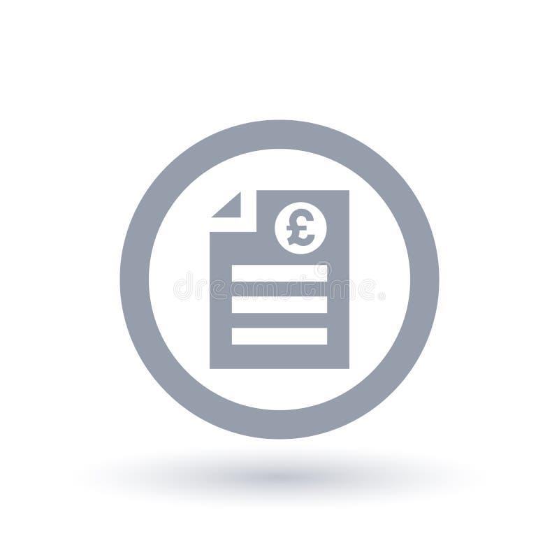 Значок счета английского фунта бумажный - символ документа денег Британии иллюстрация штока