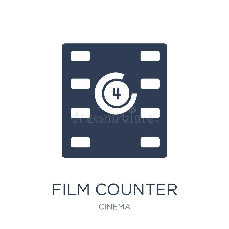 Значок счетчика фильма Ультрамодный плоский значок счетчика фильма вектора на белизне иллюстрация вектора