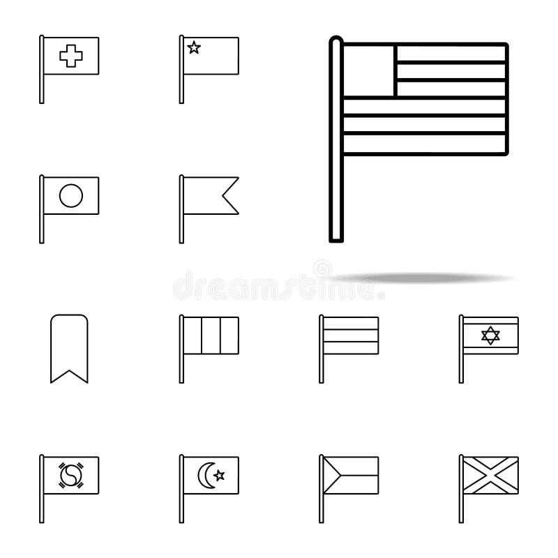 Значок США набор значков флагов всеобщий для сети и черни иллюстрация штока