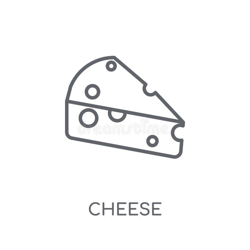 Значок сыра линейный Современная концепция логотипа сыра плана на белизне иллюстрация штока