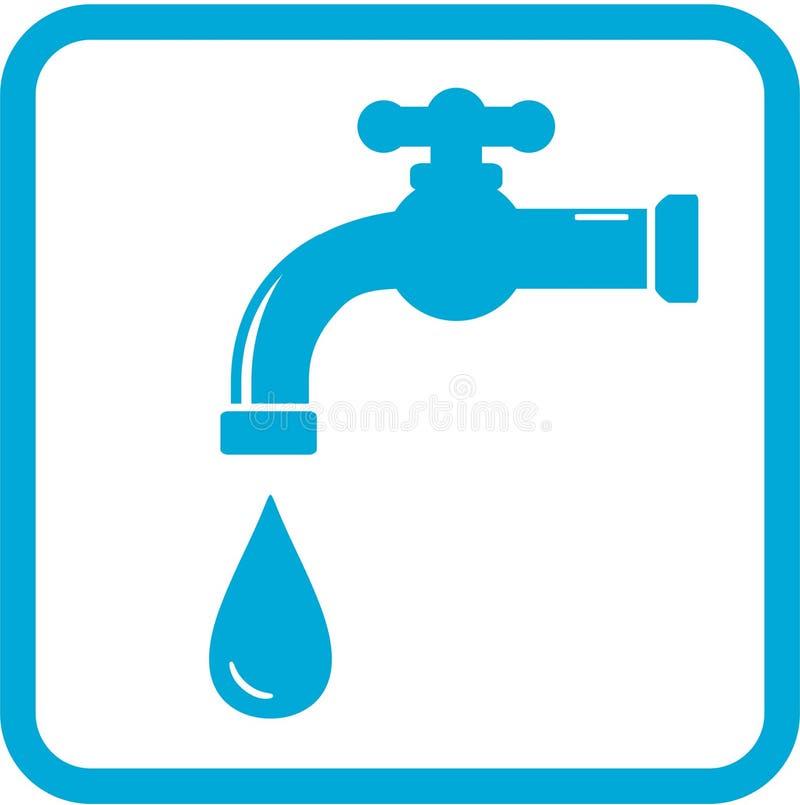 Значок с краном. символ воды иллюстрация вектора