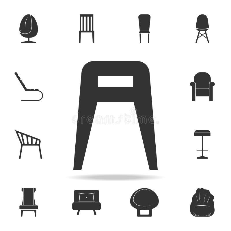 Значок табуретки Детальный комплект значков мебели Наградной качественный графический дизайн Один из значков собрания для вебсайт иллюстрация вектора