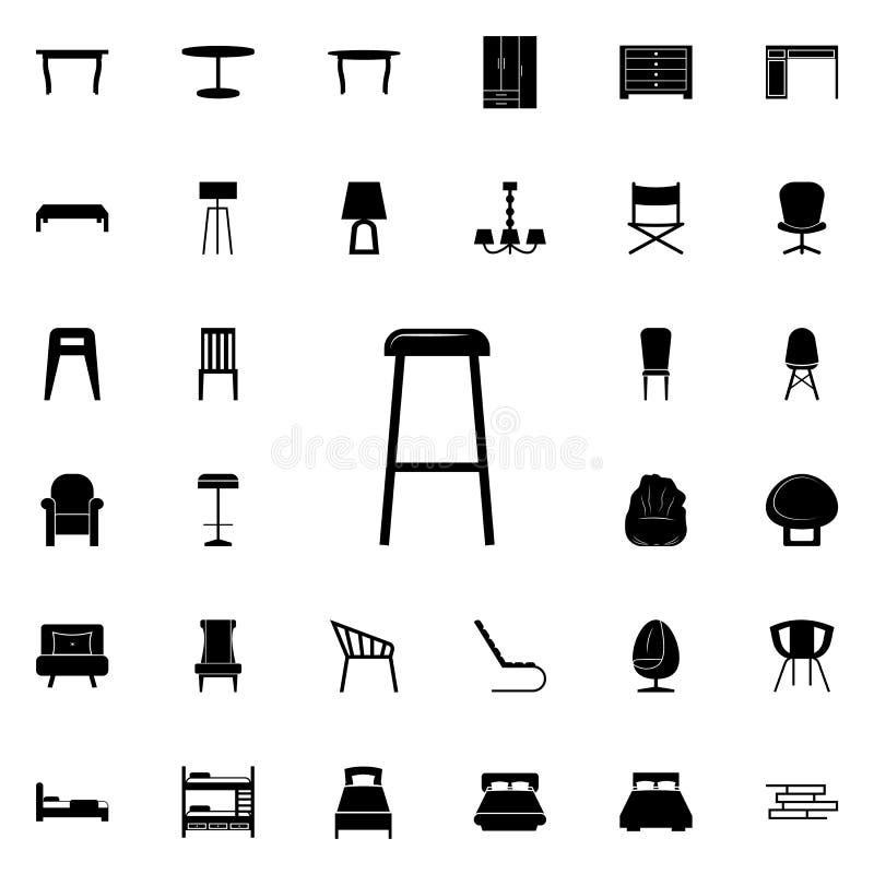 Значок табуретки Комплект значков мебели всеобщий для сети и черни иллюстрация штока