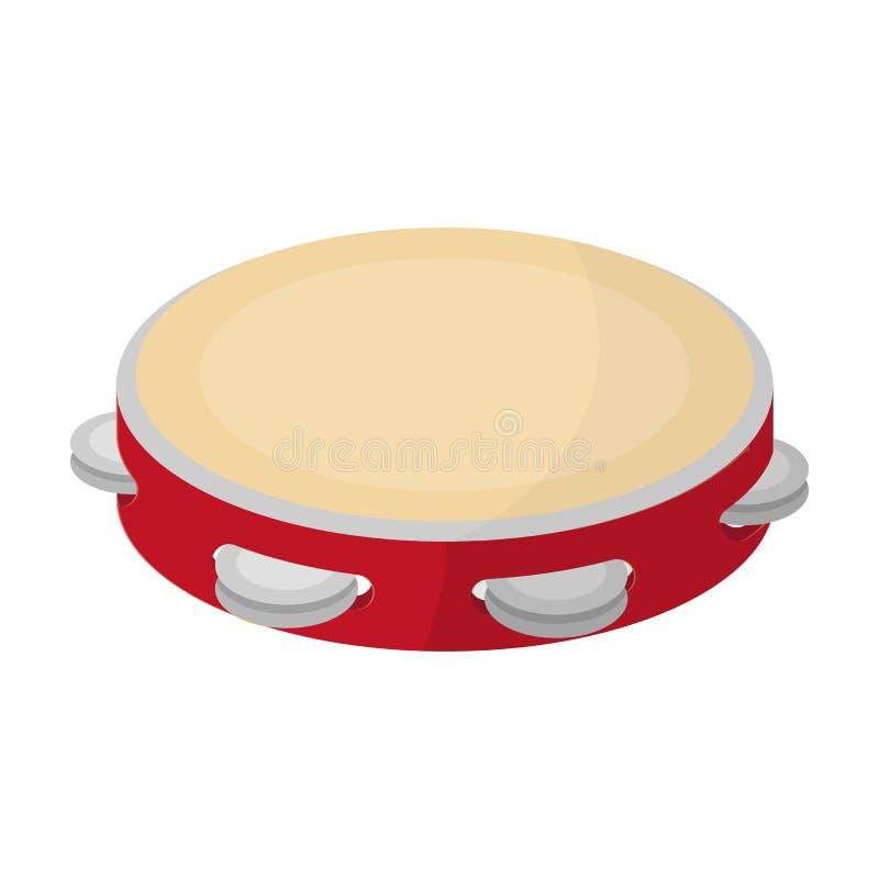 Значок тамбурин в стиле шаржа изолированный на белой предпосылке Иллюстрация вектора запаса символа страны Испании иллюстрация вектора
