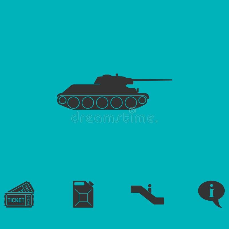 Значок танка военный плоско иллюстрация штока