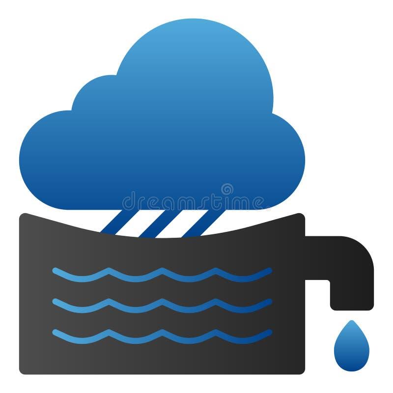 Значок танка дождевой воды плоский Значки цвета контейнера воды в ультрамодном плоском стиле Конструированный дизайн стиля градие иллюстрация штока