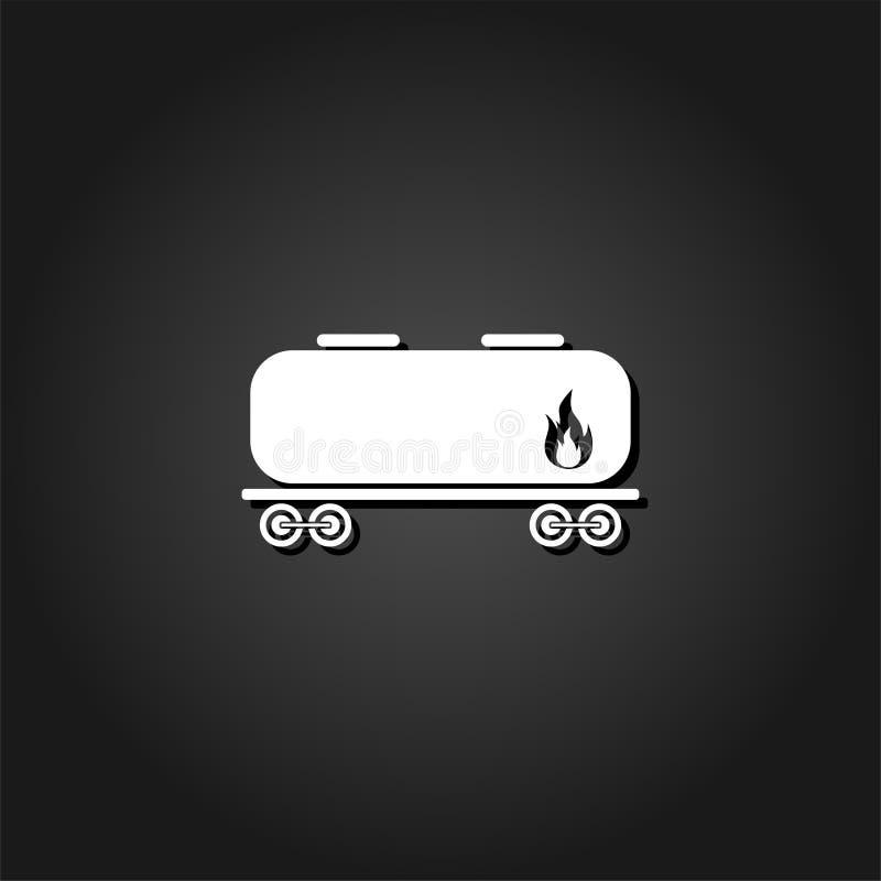 Значок танка железной дороги плоско иллюстрация вектора