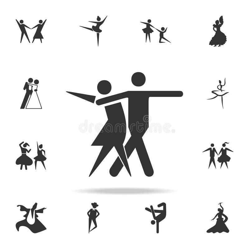 Значок танца спорта Комплект людей в значках элемента танца Наградной качественный графический дизайн Знаки и значок собрания сим иллюстрация штока