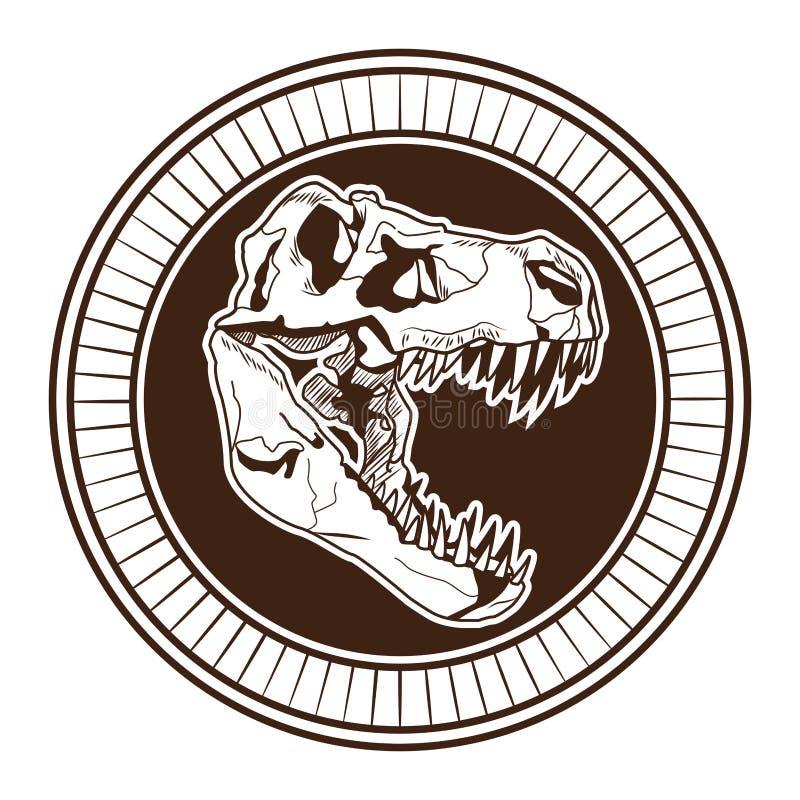 Значок татуировки главного скелета динозавра вычерченный иллюстрация штока
