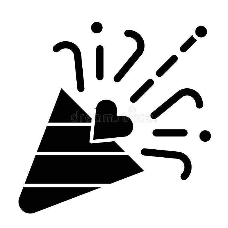 Значок твердого тела язычка Иллюстрация вектора popper Confetti изолированная на белизне Дизайн стиля глифа торжества, конструиро иллюстрация вектора