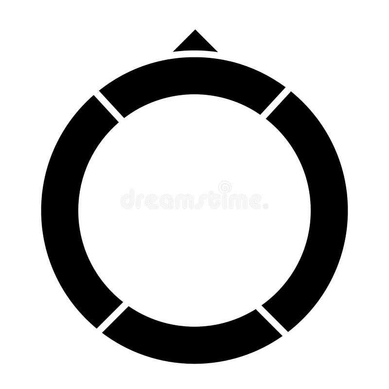 Значок твердого тела Lifebuoy Иллюстрация вектора томбуя пляжа изолированная на белизне Дизайн стиля глифа кольца, конструированн иллюстрация вектора