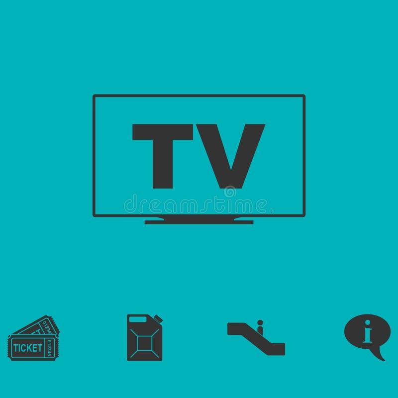 Значок ТВ плоский иллюстрация вектора