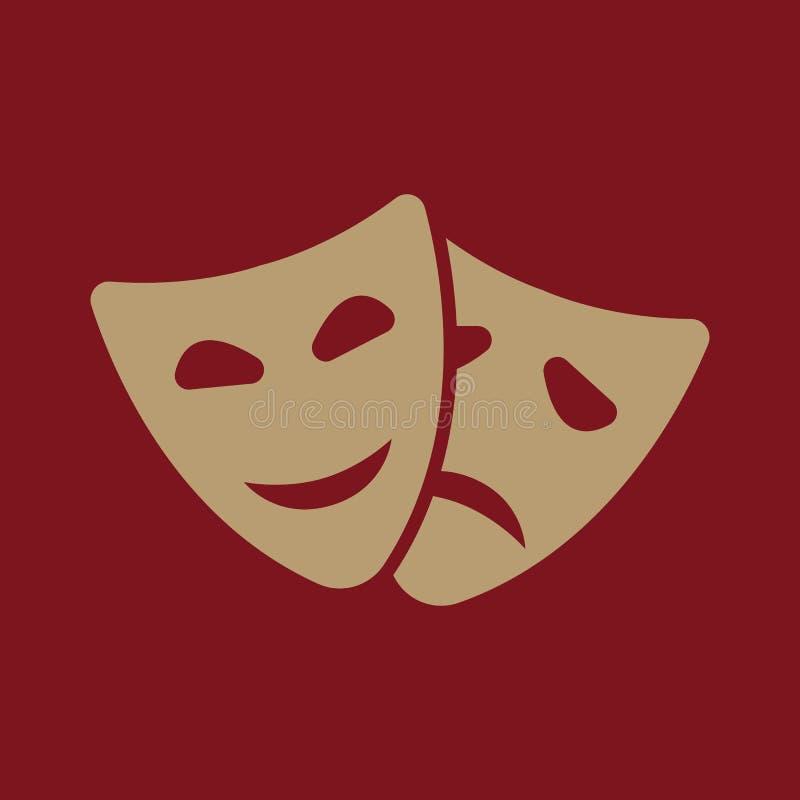 Значок театра и маски Драма, комедия, символ трагедии плоско иллюстрация штока