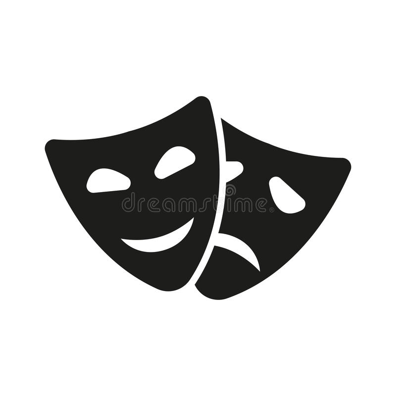 Значок театра и маски Драма, комедия, символ трагедии плоско иллюстрация вектора