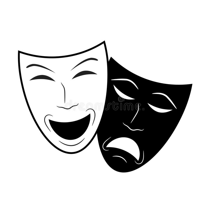 Значок театра с счастливыми и унылыми масками, иллюстрацией вектора запаса иллюстрация вектора