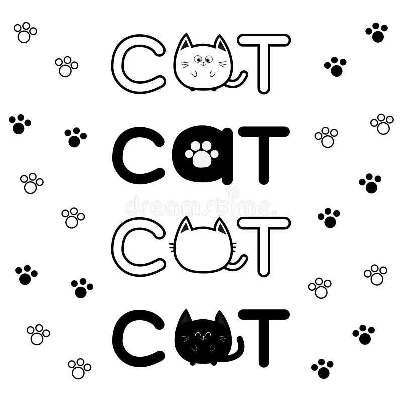 Значок текста черного кота округлой формы Персонаж из мультфильма печати лапки литерности установленный милый Животное Kawaii Бол бесплатная иллюстрация