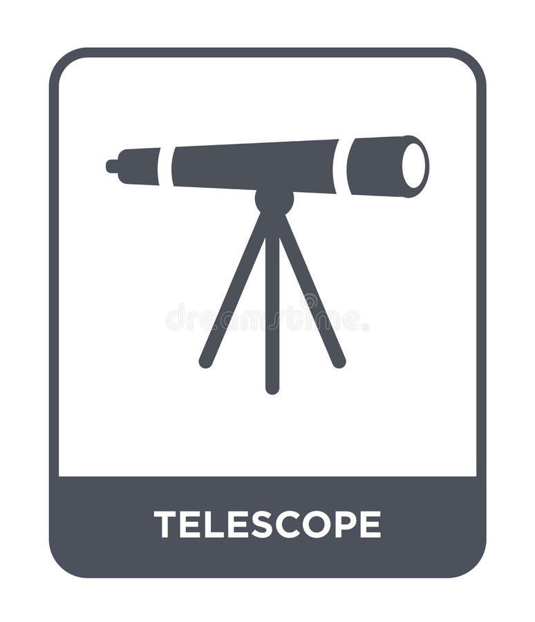 значок телескопа в ультрамодном стиле дизайна Значок телескопа изолированный на белой предпосылке квартира значка вектора телеско иллюстрация вектора