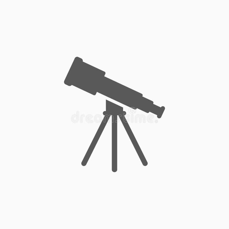 Значок телескопа, объем, бинокли, астрономия бесплатная иллюстрация