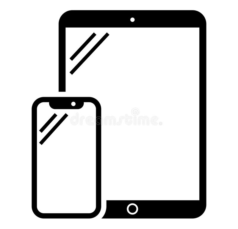 Значок телефона и таблетки иллюстрация штока