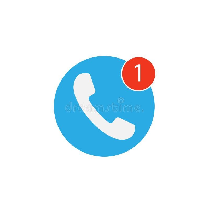 Значок телефона, один пропущенный позывной, белый на голубой предпосылке Иллюстрация вектора плоская бесплатная иллюстрация