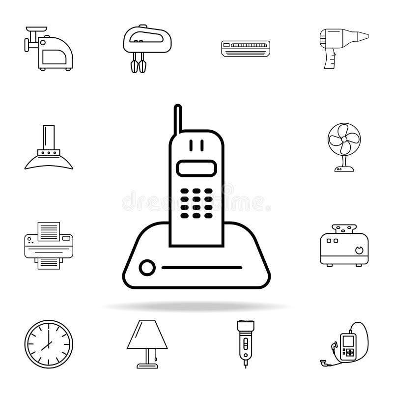 значок телефона радио Комплект значков приборов всеобщий для сети и черни иллюстрация вектора