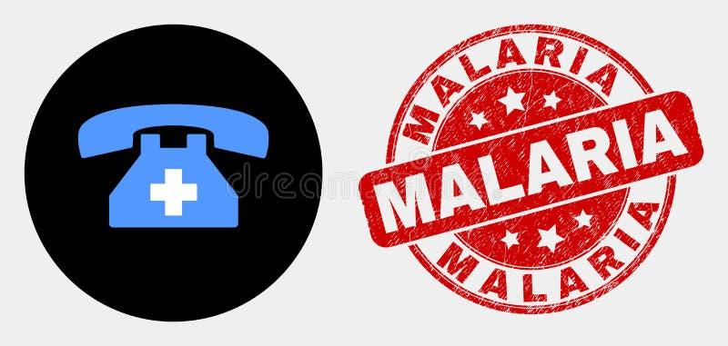 Значок телефона скорой помощи вектора и печать малярии Grunge иллюстрация штока