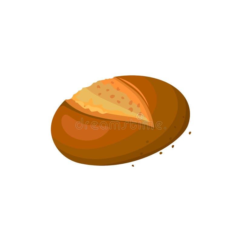Значок темного хлеба Rye круглый, иллюстрация вектора изолированная на белой предпосылке бесплатная иллюстрация