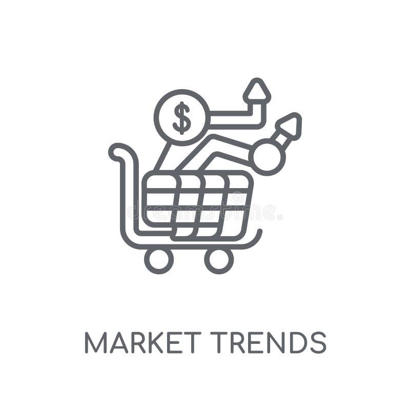 значок тенденций рынка линейный Современный жулик логотипа тенденций рынка плана иллюстрация штока
