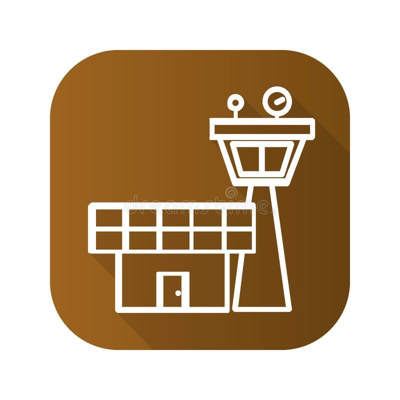 Значок тени башни управления полетом плоско линейный длинный Линия символ вектора бесплатная иллюстрация