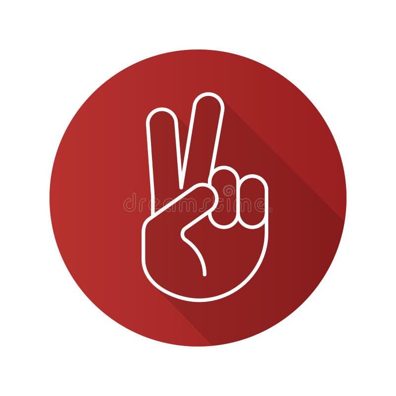 Значок тени жеста рукой мира плоско линейный длинный иллюстрация штока