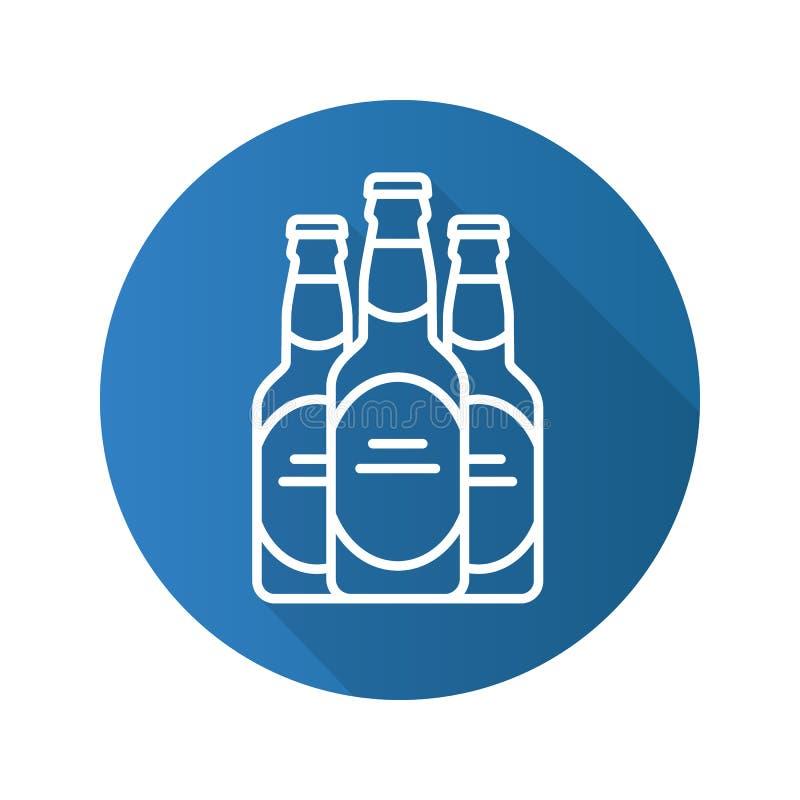 Значок тени пивных бутылок плоско линейный длинный иллюстрация штока