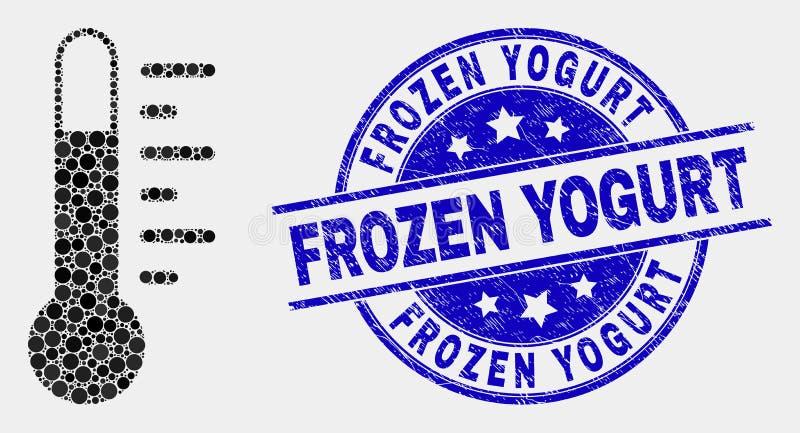 Значок термометра точки вектора и поцарапанная печать замороженного йогурта иллюстрация штока
