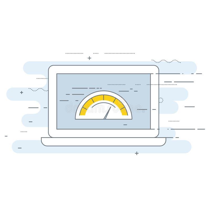 Значок теста скорости загрузки интернет-страницы - расположите оптимизирование представления бесплатная иллюстрация