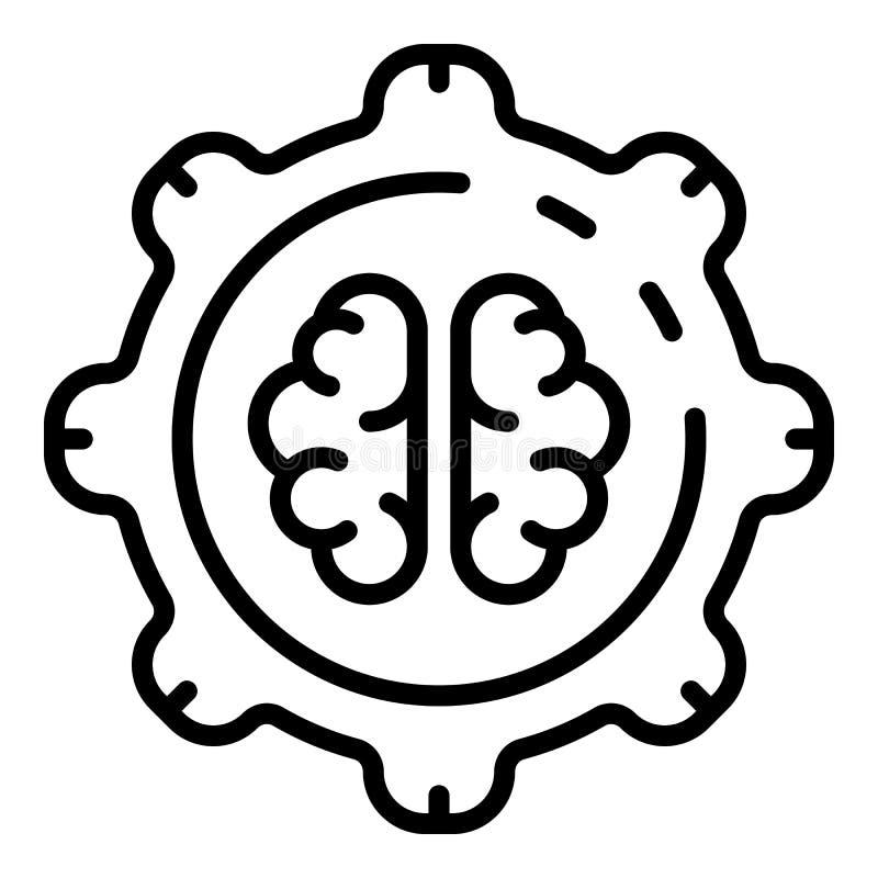 Значок технологии шестерни мозга Ai, стиль плана бесплатная иллюстрация