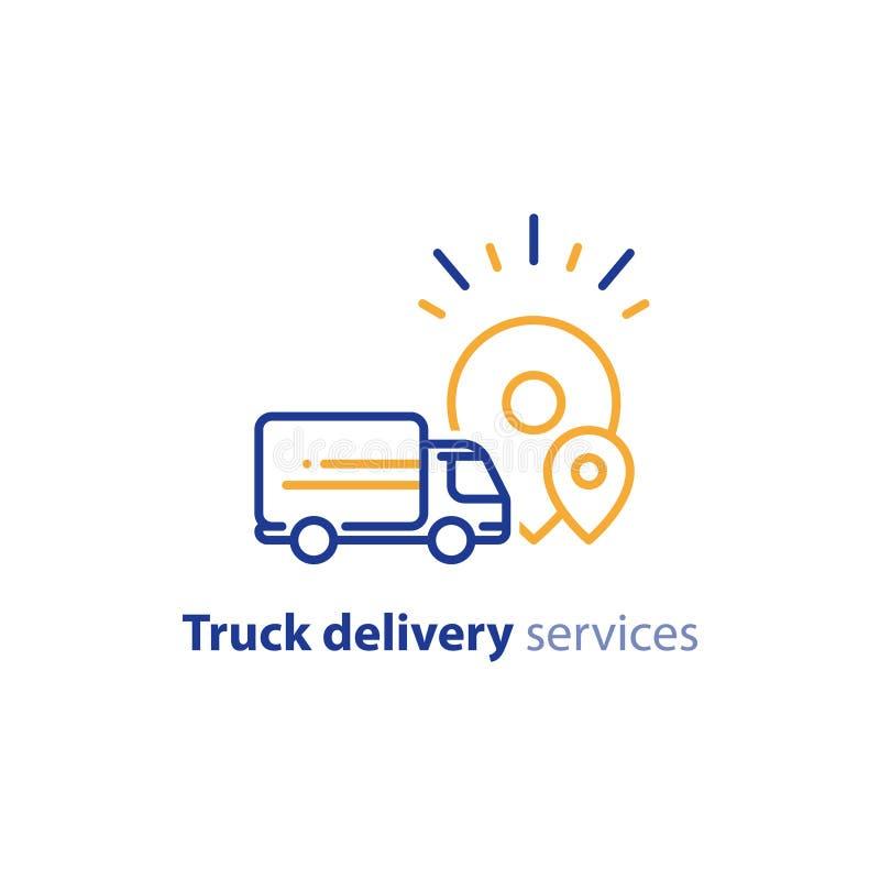 Значок тележки поставки, доставка заказа, сервисы по распределению, концепция перестановки бесплатная иллюстрация