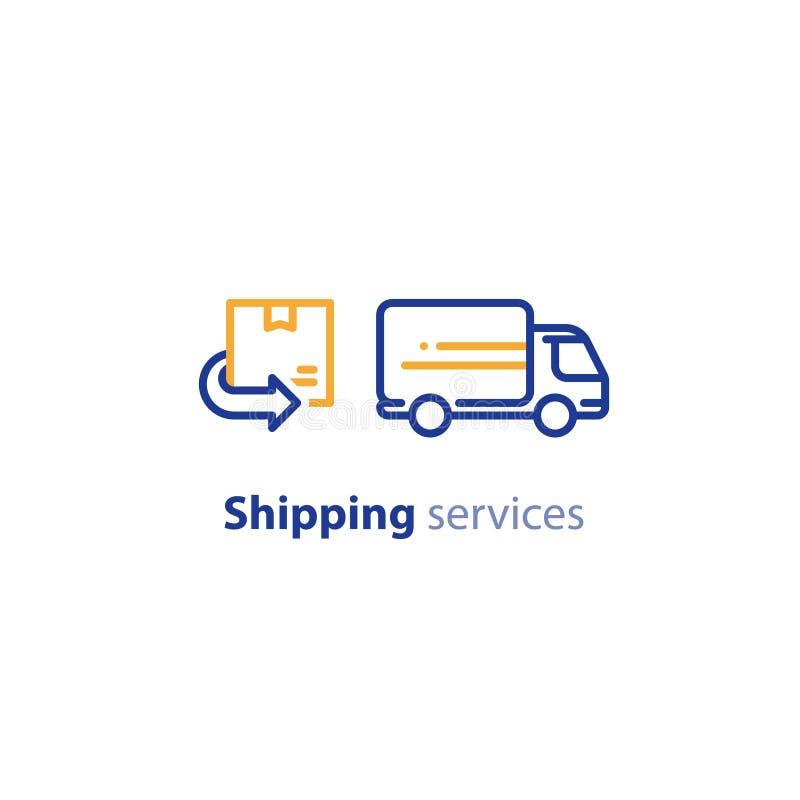 Значок тележки поставки, доставка заказа, сервисы по распределению, концепция перестановки иллюстрация вектора