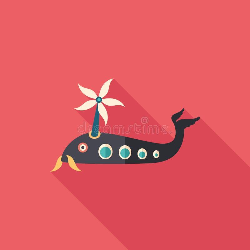 Значок тонкого угольника вертолета рыб с длинными тенями иллюстрация вектора