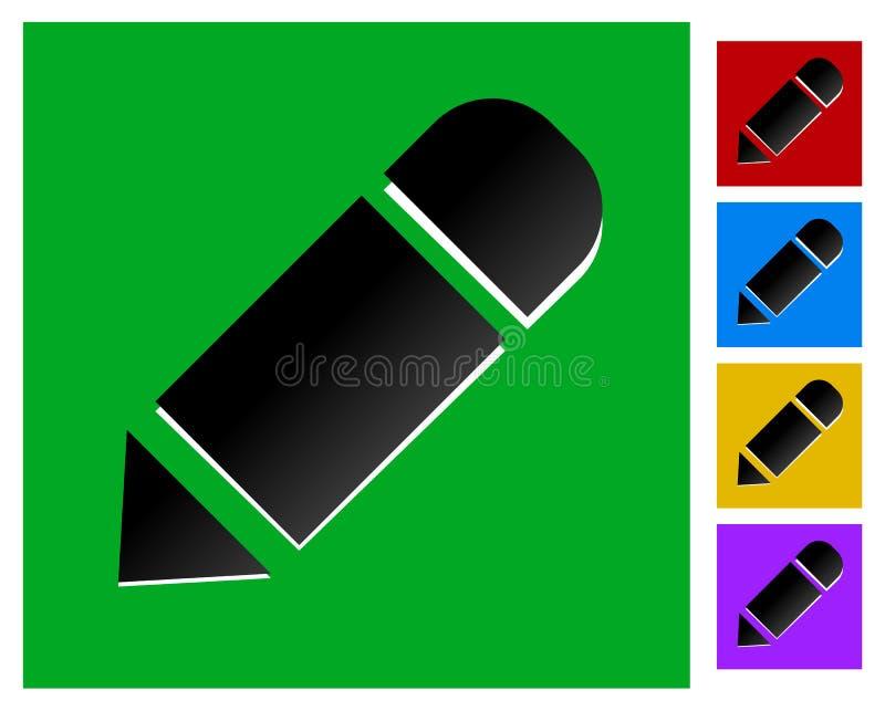 Значок тонкого угольника с карандашем в 5 цветах иллюстрация вектора