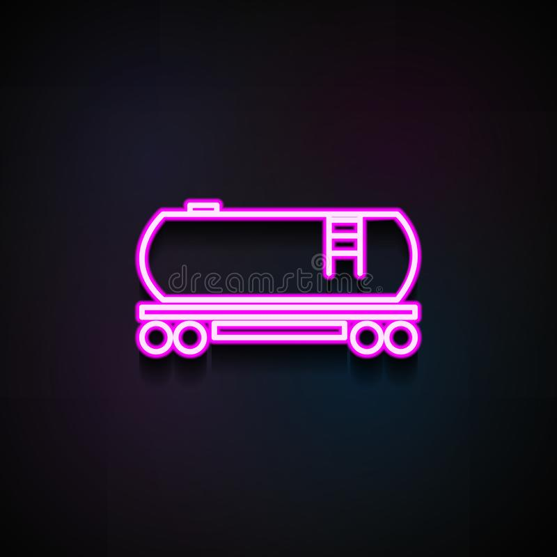 Значок топливозаправщика бензина железнодорожный Элемент значков снабжения для передвижных apps концепции и сети Неоновый значок  иллюстрация штока